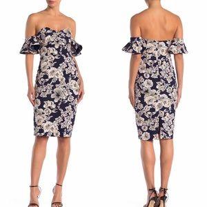 Bardot Floral Midi Off Shoulder Ruffle Dress NWT